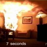Brandversuch trockener Christbaum 7sec nach Entzündung