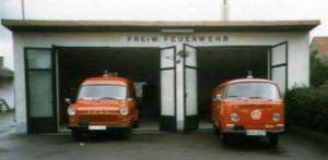 Fahrzeughalle in den 80er Jahren.