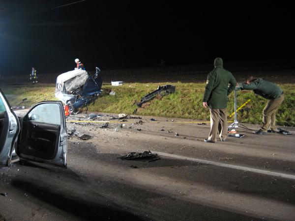 Unfallaufnahme durch Polizei